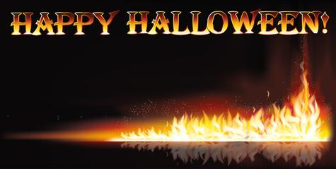 Fire happy halloween banner, vector illustration