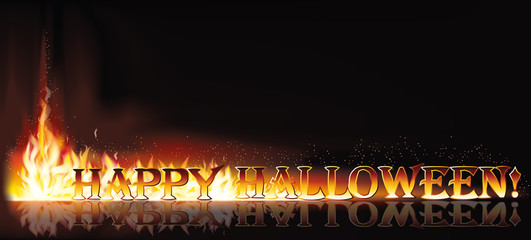 Fire happy halloween invitation banner, vector