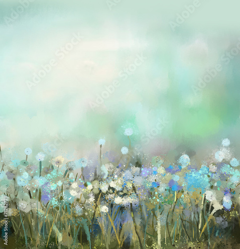 Fotobehang Paardebloem Abstract flower plant painting