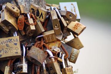 hundreds of padlocks of love