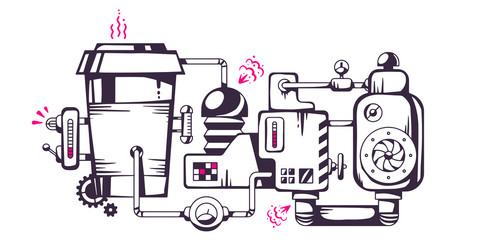 Vector industrial illustration of the mechanism of coffee to go.