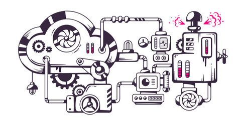 Vector industrial illustration of the mechanism of cloud.