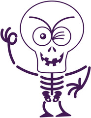 Scary Halloween skeleton winking and making an OK sign