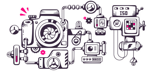Vector industrial illustration of the mechanism of photo camera.