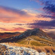 Automne paysage de montagne, look vintage
