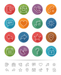 Simple line style : Web & Mobile icons set