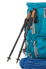 Hiking equipment, rucksacks, poles, and rope.