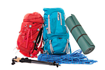 Hiking equipment, rucksacks, poles, rope and slipping pad