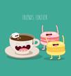 Постер, плакат: coffee and macaroons friends forever