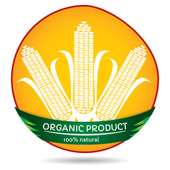 Organic plants, maize label illustration