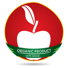 Organic plants, apple label illustration