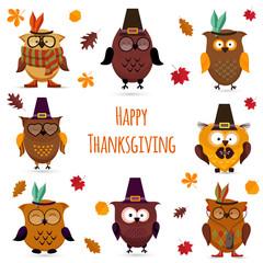 Thanksgiving Day  cute owl set