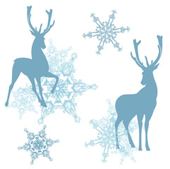 winter decor with deers and snowflakes