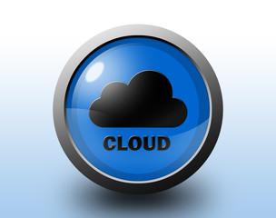 Cloud icon. Circular glossy button.