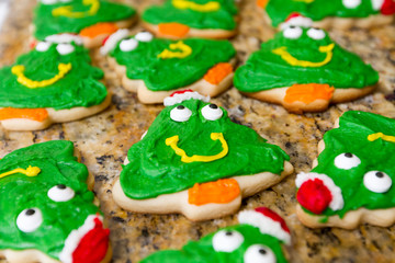 Freshly baked and decorated Christmas Cookies