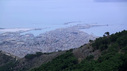 Aerial view of Trapani from Mount Erice at evening twilight.