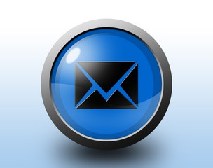 Email icon. Circular glossy button.