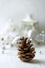 Pine cone and Christmas decorations