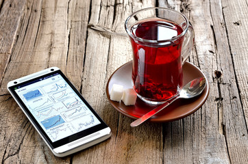 Morning red tea with smartphone laying near by the cup