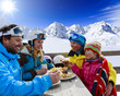 Winter, ski - skiers enjoying lunch