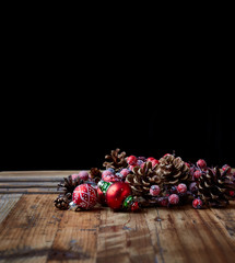 Pine cones and vintage Christmas ornaments