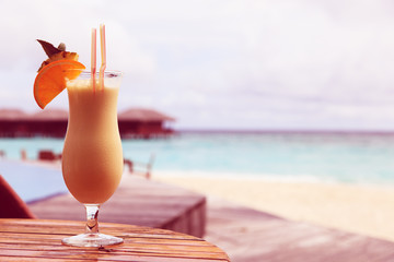 pina colada on beach vacation