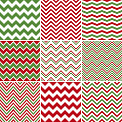 Christmas Chevron Seamless Patterns
