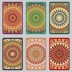 Collection retro cards. Ethnic backgrounds. Card of invitation