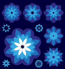 Blue flowers Vector collection