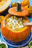 Halloween party,  Traditional seasonal pumpkin soup