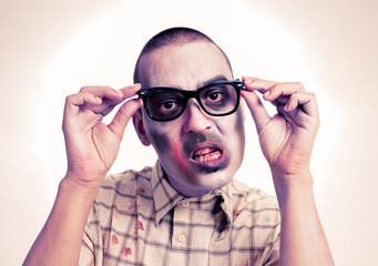 zombie with black plastic-rimmed eyeglasses