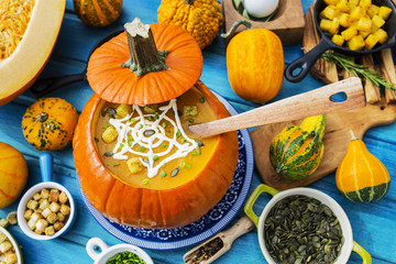 Halloween party,  Traditional seasonal pumpkin soup