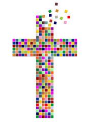 Kreuz aus bunten Quadraten