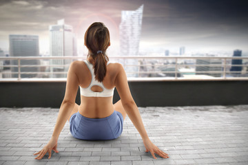 girl and yoga time on roof
