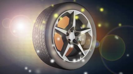 rotate car wheel with flashlight