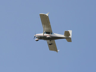 Single-engine airplane in the sky