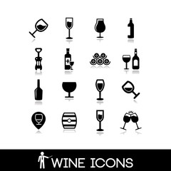 Wine icons set - glass, bottle