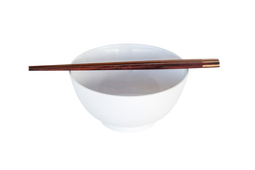 close up chopsticks and white bowl isolated on white.
