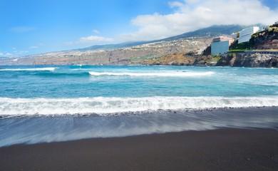 Puerto de la Cruz city beach in the Tenerife, Spain.