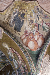 First Public miracle of Jesus on mosaic in Chora Museum, Istanbu