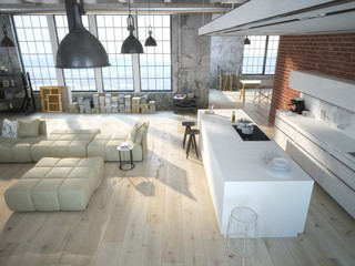 kitchen in a loft