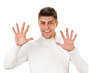 Portrait of happy smiling man showing ten fingers
