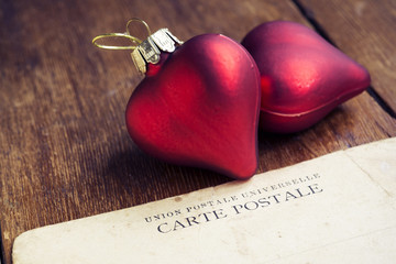hearts with postcard