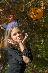 Girl in Halloween style.