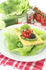 Knäckebrot mit Käse, Salat und Marienkäfer