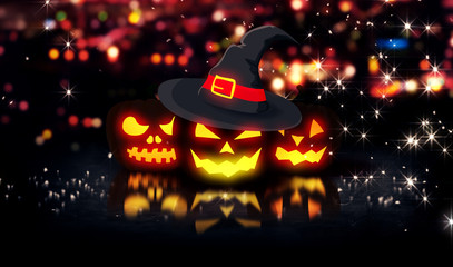 Halloween Glowing Pumpkins Night City Bokeh Background 3D