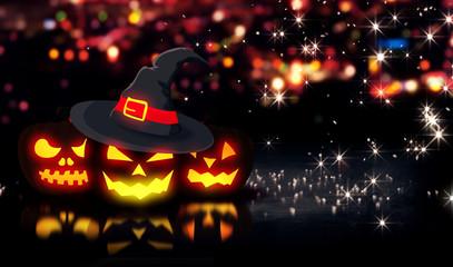 Halloween Glowing Three Pumpkins Night City Bokeh Background 3D