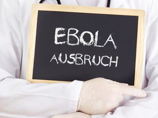 Doctor shows information: Ebola outbreak in german