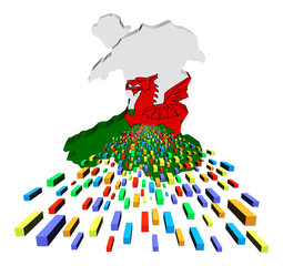 Wales map flag with containers illustration