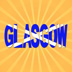 Glasgow flag text with sunburst illustration